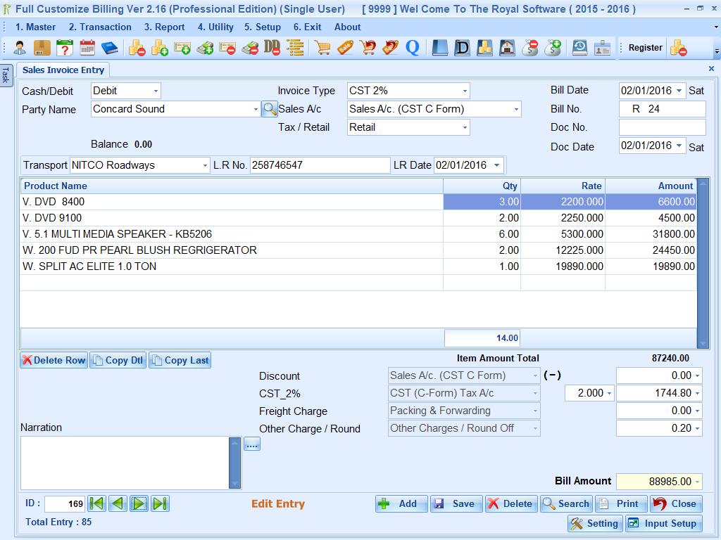 Full Customize Billing For Window
